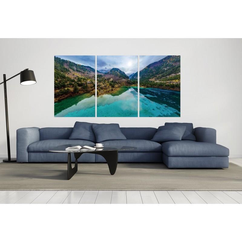 tableau verre acryliquee lac et montagne nature paysage for. Black Bedroom Furniture Sets. Home Design Ideas