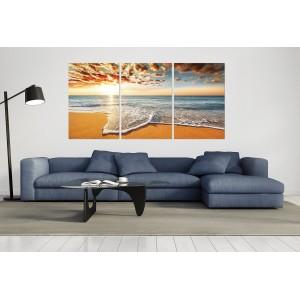 tableau plexiglas verre acrylique - photo plage et océan - nature - paysage - panorama - triptyque