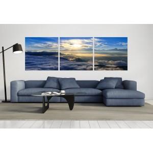 tableau plexiglas verre acryliquee - mer de nuages - soleil levant - panorama nature - triptyque