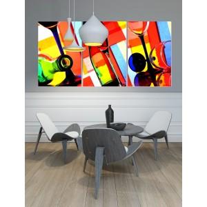 """tableau plexiglas verre acrylique - photos artistiques """"verres et bouteilles"""" multicolores - cuisine - triptyque"""