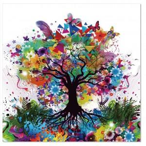 tableau plexiglas verre acrylique - visuel arbre abstrait multicolore - nature - style contemporain