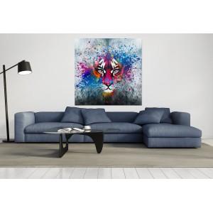 tableau verre acrylique - tigre abstrait multicolore