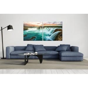 tableau plexiglas verre acrylique - Chutes du Niagara -cascade - panorama - nature - diptyque