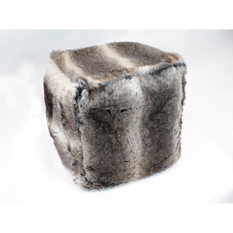 Pouf -  fausse fourrure - couleur  taupe/marron - doux et confortable - VICTOR