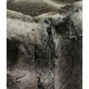 Lot de 2 poufs -  fausse fourrure - couleur  taupe/marron - doux et confortable - VICTOR