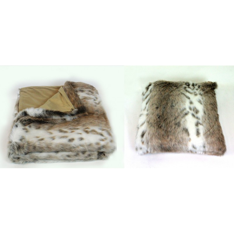 lot plaid 1 coussin fausse fourrure beige blanc chic toucher. Black Bedroom Furniture Sets. Home Design Ideas