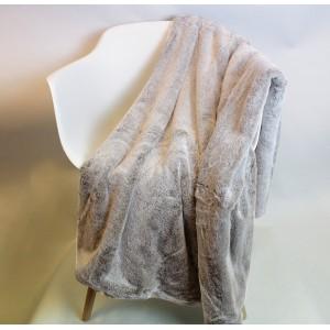Plaid moelleux - couleur taupe givré- toucher douceur extrême - épais -chaud -DOUDOU