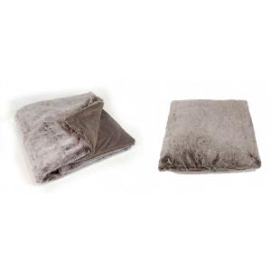 Lot plaid + 1 coussin moelleux - couleur taupe givré- toucher douceur extrême - épais -chaud -DOUDOU