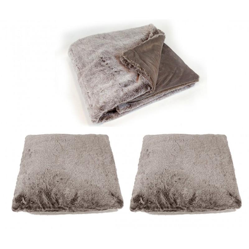 Lot plaid + 2 coussins moelleux - couleur taupe givré- toucher douceur extrême - épais -chaud -DOUDOU
