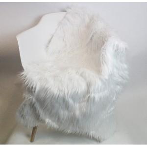 Lot de 2 tapis - aspect fourrure blanche - salon- descente de lit - plaid canapé - toucher douceur intense - POLUX