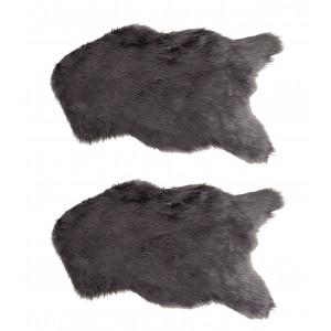 Lot de 2 tapis - aspect fourrure couleur grey - salon- descente de lit - plaid canapé - toucher douceur intense - POLUX