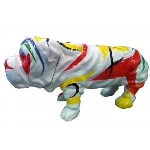 Statue chien bulldog blanc...