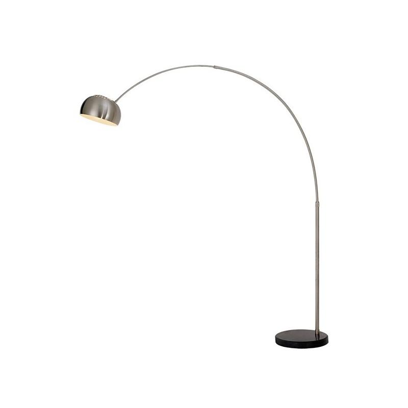 Lampadaire déporté chromé design - socle marbré - GLOBUS