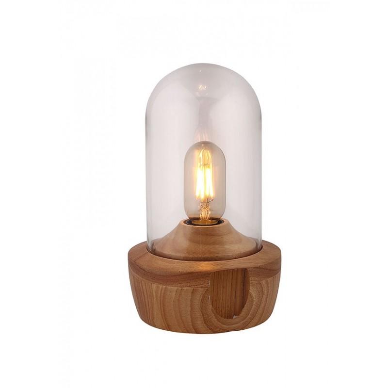 Lampe à poser en verre transparent et socle bois - style nordique - GIRO