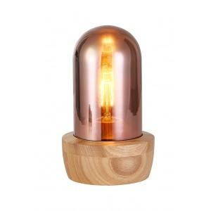 Lampe à poser en verre teinté couleur cuivre et socle bois - style nordique - GIRO