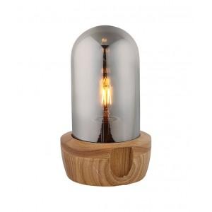 Lampe à poser en verre teinté gris et socle bois - style nordique - GIRO