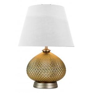 Lampe à poser métal doré abat-jour tissus blanc style chic classique  – VERONE