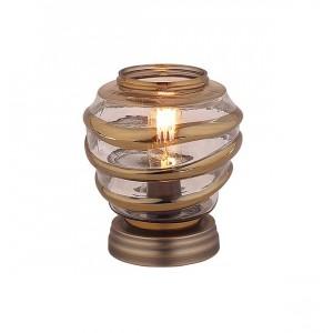 Lampe à poser  ronde en verre souflé transparent style vintage  –  NELSON