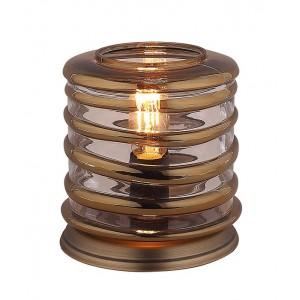 Lampe à poser cylindrique ronde en verre souflé transparent  style vintage  –  NELSON