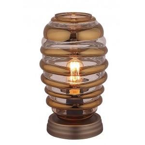 Lampe à poser ovale en verre souflé transparent  style vintage  –  NELSON