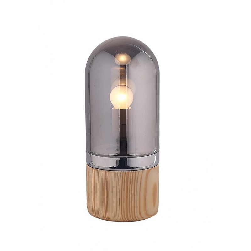 lampe poser cylindrique en verre teint gris style scandinave neils. Black Bedroom Furniture Sets. Home Design Ideas