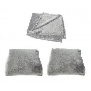 Lot plaid + 2 coussins haute qualité - gris clair - toucher douceur intense - ALASKA