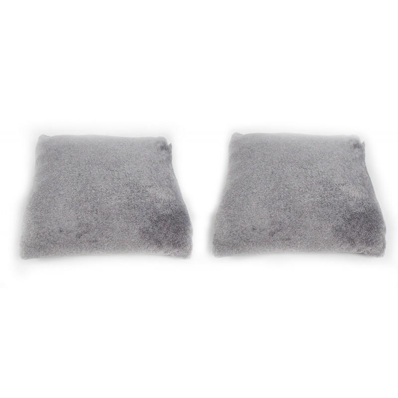 2 coussins de haute qualité - gris clair - toucher douceur intense - ALASKA