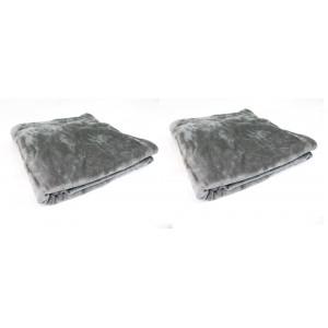Lot de 2 Plaids couvertures polaires moelleuses - gris anthracite reflet argenté- ultra douce - CHAMONIX
