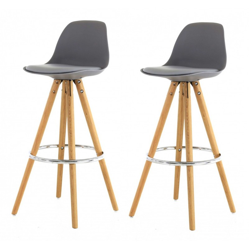 First - Lot de 2 tabouret de bar design noir pieds bois