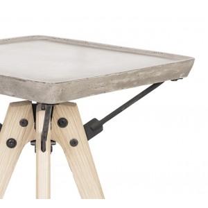Bout de canapé en béton et bois - sellette tendance design loft - style moderne contemporain