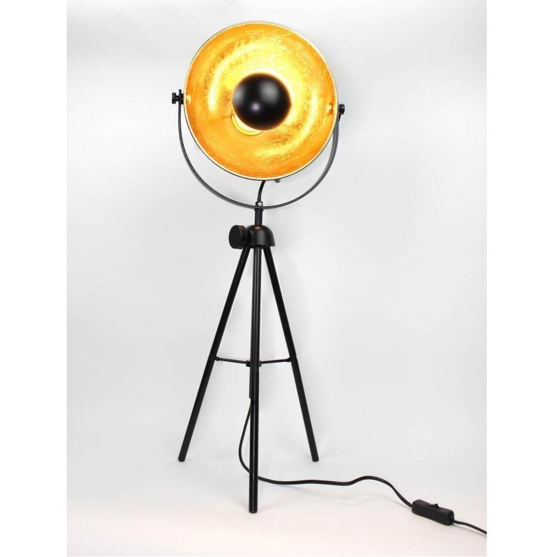 lampadaire style industriel projecteur tr pied noir et or. Black Bedroom Furniture Sets. Home Design Ideas