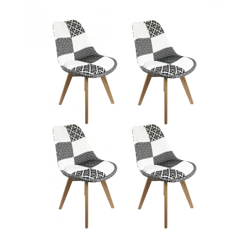 lot de 4 chaises patchwork noir et blanc lidy. Black Bedroom Furniture Sets. Home Design Ideas