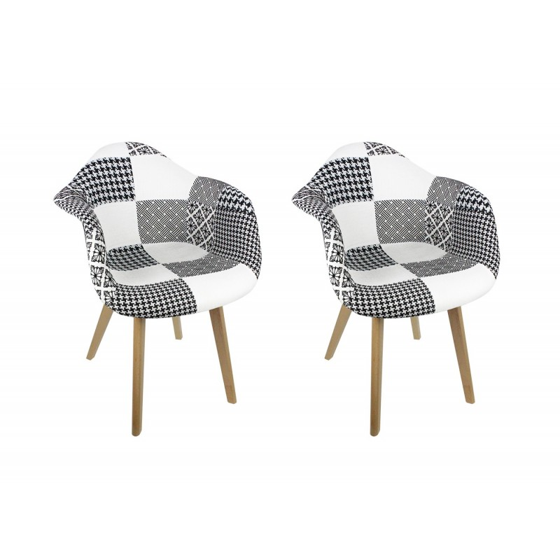 lot de 2 fauteuils patchwork noir et blanc lidy. Black Bedroom Furniture Sets. Home Design Ideas