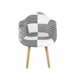 Lot De FAUTEUILS PATCHWORK NOIR Et BLANC LIDY - Fauteuil patchwork noir et blanc