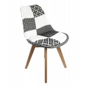 Lot de 4 chaises PATCHWORK NOIR et BLANC - design Graphik Chic - Pieds bois hêtre massif - confortable et robuste - LIDY