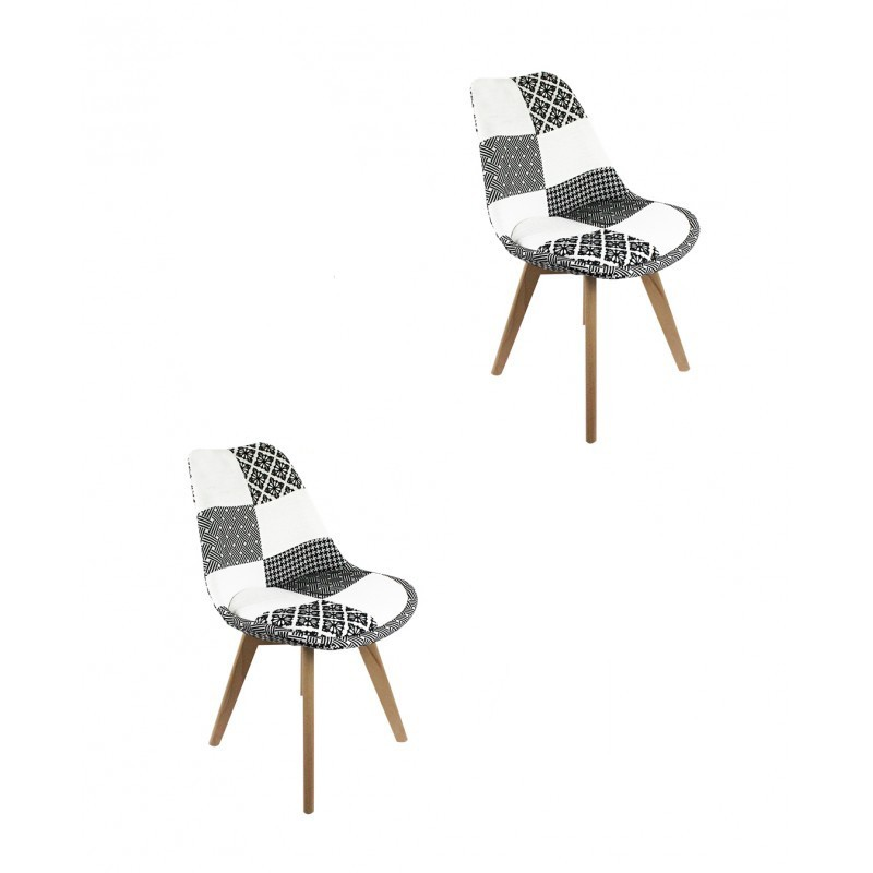lot 2 chaises patchwork noir et blanc lidy. Black Bedroom Furniture Sets. Home Design Ideas