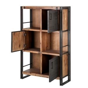 Bibliothèque style industriel 3 étagères et portes métal - WORKSHOP