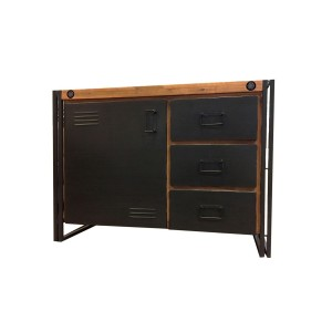 Buffet bois massif & métal 110cm – WORKSHOP