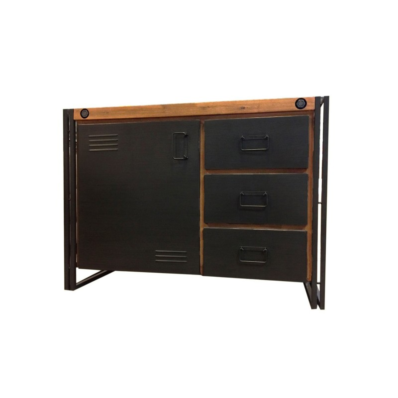 buffet bois massif m tal 110cm workshop. Black Bedroom Furniture Sets. Home Design Ideas