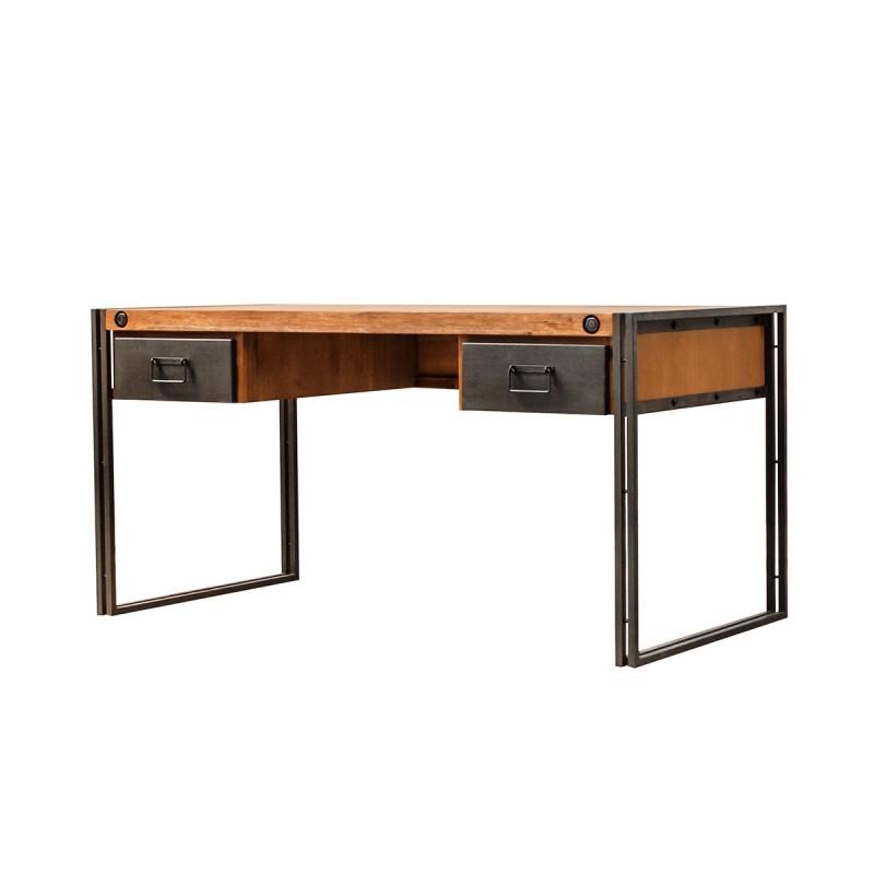 bureau style industriel 2 tiroirs design acacia m tal. Black Bedroom Furniture Sets. Home Design Ideas