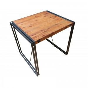 Table industriel acacia métal 80 cm