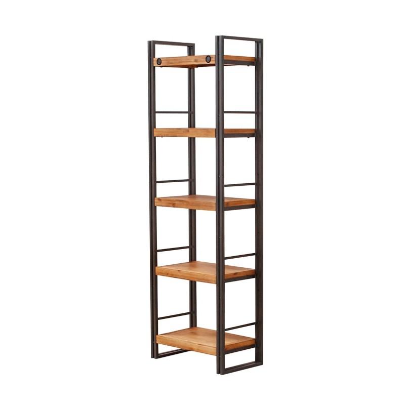 Bibliothèque métal & acacia 190 x 60 cm – Workshop