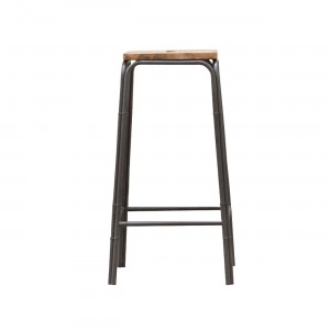 Lot 2 tabourets de bar style loft – Workshop design industriel atelier - acacia et metal