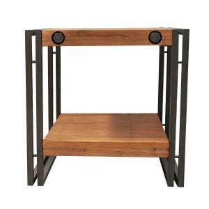 Table d'appoint / bout de canapé – Workshop design industriel atelier loft Acacia et métal