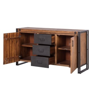 Buffet bois & métal 180cm – Workshop - acacia - design industriel  loft atelier 3 tiroirs et 2 portes