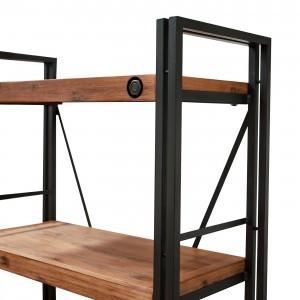 Bibliothèque métal & acacia 80 x 35 – design indus atelier loft WORKSHOP