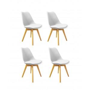 Lot de 4 chaises BLANCHES ET BOIS -style scandinave vintage - confortable et robuste - LIDY