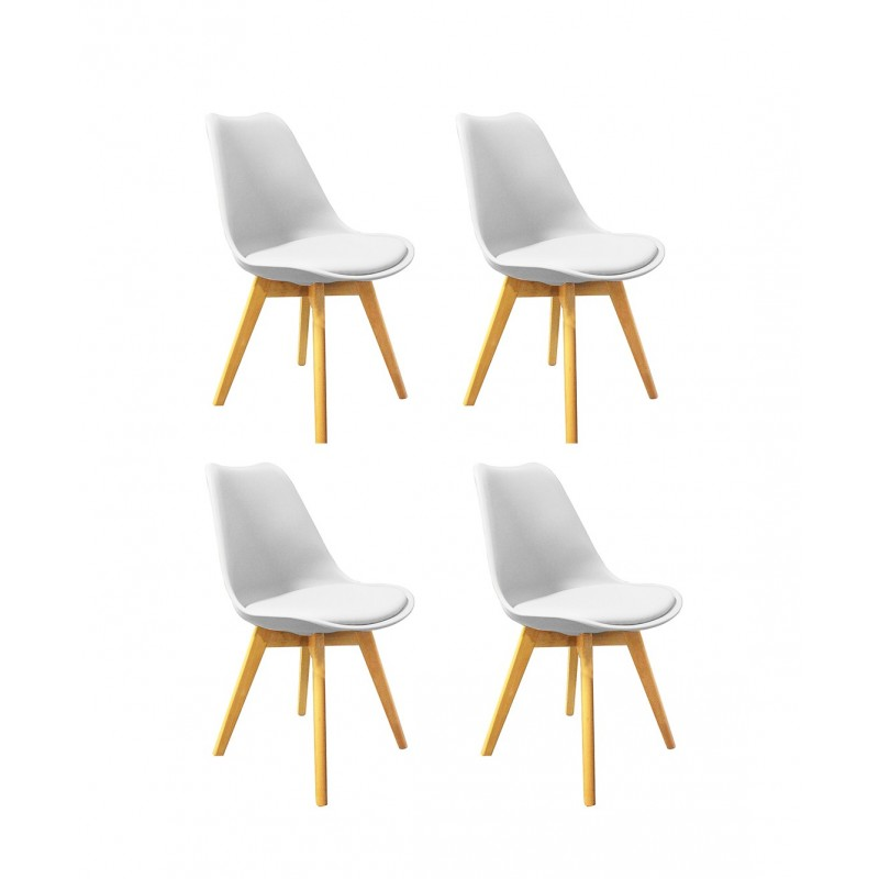Lot 4 Chaises Style Scandinave Assise Blanche Lidy