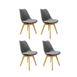 Lot de 4 chaises GRISES  ET BOIS - style scandinave vintage - confortable et robuste - LIDY