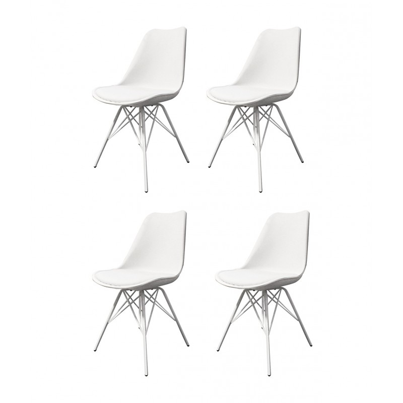 Lot de 4 chaises BLANCHES ET METAL - style scandinave vintage - pieds design métal et assise confortable -  TOMY